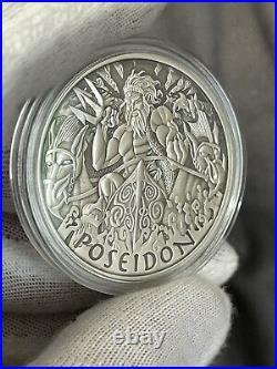 2021 Tuvalu Gods Of Olympus Poseidon 1 oz Silver Antiqued Coin