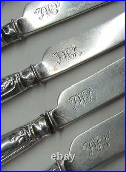 7 Rare Kings Fiddle Thread & Shell American Coin Silver Dessert Knives R & W W