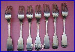 7 Southern Coin Silver 6.5 Forks S. WILMOT South Carolina 1825-1837