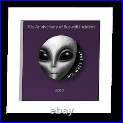 70th Ann of Roswell Incident UFO Antique finish Silver Coin 3 Oz Cameroon 2017