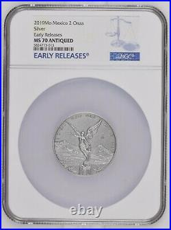 ANTIQUE LIBERTAD MEXICO 2019 2 oz Silver Coin NGC MS 70 EARLY RELEASES ER