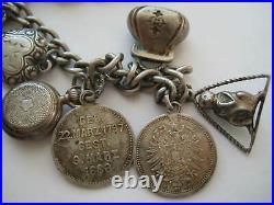 ANTIQUE Victorian GERMAN COIN Love Token Silver Charm Bracelet VERY UNUSUAL