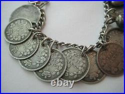 ANTIQUE Victorian LOVE TOKEN Coin Silver Charm Bracelet LOADED 1853-1908