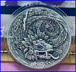 AZTEC DRAGON SERIES 2020 2 oz $2 UHR Antique Silver Coin with AZURITE Niue