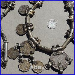 An old antique traditional silver necklace with coins from india #11