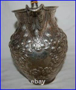 Antique 1866 S. Kirk & Sons Coin Silver Repousse Water Pitcher Hand Decorated