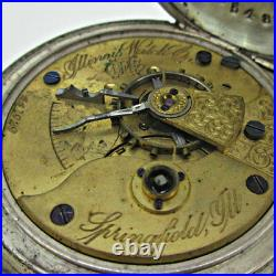 Antique 1883 Illinois Grade 1-S Model 1 18s 7J Coin Silver Pocket Watch Parts St