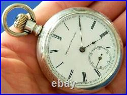 Antique 1891 Elgin 18s coin Silver & 14k gold Pocket Watch 156 g Runs