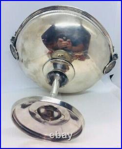 Antique Aesthetic Coin Silver Medallion Faces Centerpiece Bowl Compote