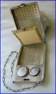 Antique Art Deco STERLING Silver Compact Coin Holder Card Case Purse BLISS GAB