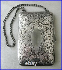 Antique Art Nouveau Floral German Silver Compact Coin Holder Card Case Purse #3
