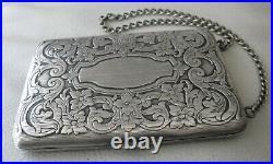 Antique Art Nouveau Pinstripe N Silver Compact Puff Coin Holder Card Case Purse