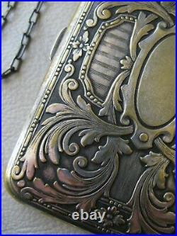 Antique Art Nouveau Silver Plate Gold Tone Compact Coin Holder Card Case Purse