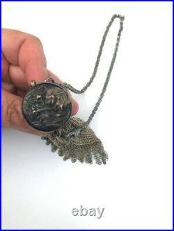 Antique Chatelaine SILVER Gate Twist Top Fine Mesh Expandable Coin Chain Purse
