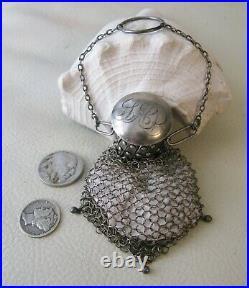 Antique Chatelaine STERLING SILVER Gate Twist Top Fine Mesh Coin Purse LAP