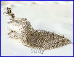 Antique Chatelaine Sterling Mesh Coin Purse Expandable Gate Top Beggars Bag