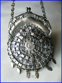 Antique Chatelaine Woman Cameo Belt Clip Fancy Chain Mail Kilt Coin Purse