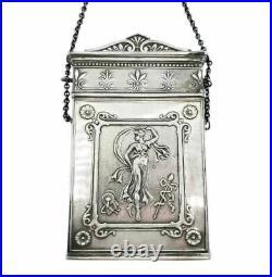 Antique Coin Silver Card Case Lucretia Neoclassical