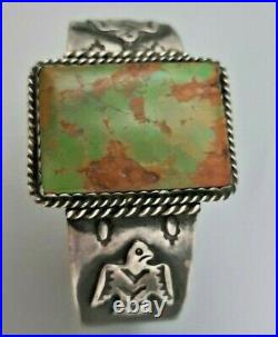 Antique Coin Silver Native American Green Turquoise Fred Harvey Wide Bracelet