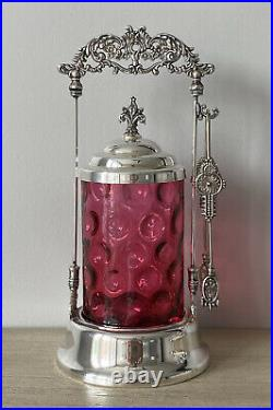 Antique Cranberry Glass Silver Plated Pickle Castor Tongs Thumbprint Coin Dot