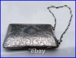 Antique Estate Sterling Silver Makeup /Coin Purse Card Holder Case with Chain