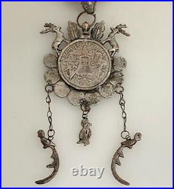 Antique Guatemalan Chachal Silver Coin and Coral Necklace 80192