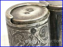 Antique Imperial Russian Niello Sterling Silver 84 Engraved Coin Box Yalta 32.2g