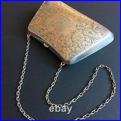 Antique Ladies Sterling Silver Bag Clutch Purse Coin Holder Chain Floral Motifs