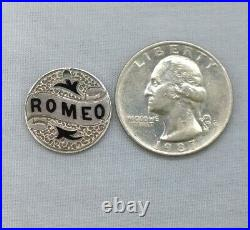 Antique Silver Love Token Coin Enameled Name Romeo Seated Liberty Dime 1884