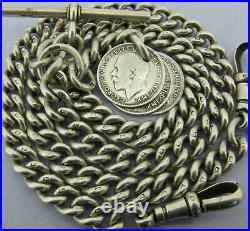 Antique Solid Silver Double Albert Watch Chain & 3 Coin Fobs Bir 1917 16 & ½