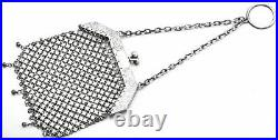 Antique Sterling Silver Asian Floral Etched Mesh Coin Pouch Purse Bag 89.7G
