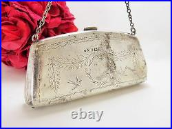 Antique Sterling Silver Coin Purse With Engraved Flower Basket Design