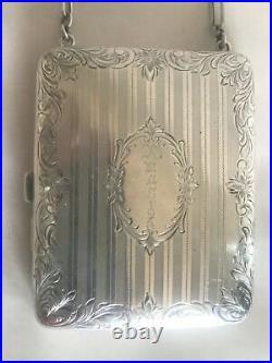 Antique Sterling Silver Watrous Mfg Co Mini Purse Bag Coin Powder Carryall 1913