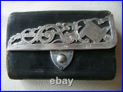 Antique Victorian LONDON ENGLAND STERLING SILVER Leather Coin Purse 1890 CM