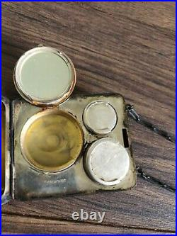 Antique Victorian Sterling Silver Compact Case Purse Coin Wallet with Chain