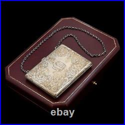 Antique Vintage Art Nouveau Sterling 925 Silver Rococo Silk Chased Coin Purse