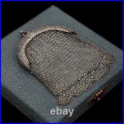 Antique Vintage Nouveau 925 Sterling Silver Mesh Chain Floral Coin Purse 43.2g