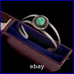 Antique Vintage Sterling Coin Silver Native Navajo Ajax Turquoise Cuff Bracelet