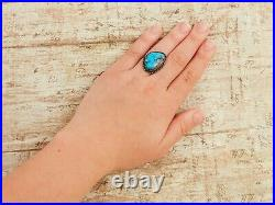 Antique Vintage Sterling Coin Silver Native Navajo Basalt Turquoise Ring S 7.5