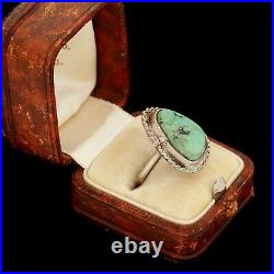 Antique Vintage Sterling Coin Silver Native Navajo Turquoise Pinky Ring Sz 4.75