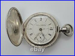Antique Working 1890 COLUMBUS Victorian Full Hunter Coin Silver Pocket Watch 18s