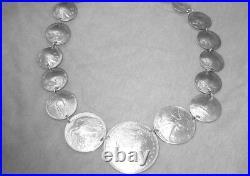 Antique coin neck-silver dimes, nickels, quarters, half dollars, Morgan dollar