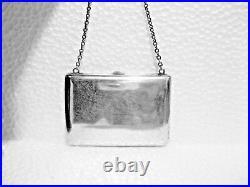 Atq Victorian Sterling Silver Taffeta Lined Coin Dance Card Pursemonogrammed