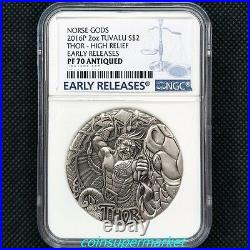 Australia 2016 Norse Gods Thor 2oz Silver High Relief Coin NGC PF 70 ANTIQUED