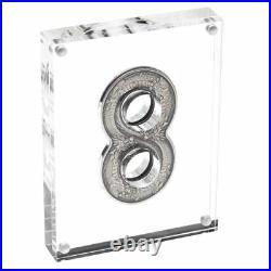 Australia 2018 Innovative Figure Eight Shape Dragon 2oz $2 Silver Antiqued Coin