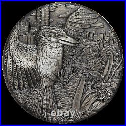 Australian KOOKABURRA 2018 2oz Silver High Relief RIMLESS Antiqued $2 Coin