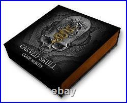 CLADE MORTIS CARVED SKULL 1 oz UHR Silver Coin Antiqued Cameroon 2018