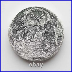 Chunky Supermoon 2 oz Silver Antiqued Finish Worry, Gift Or Reminder Coin WithOMP