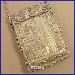 Coin Silver Leonard & Wilson Castle Top card case Trinity Church, NY & capital b