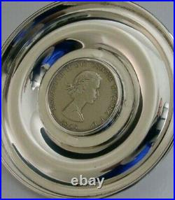 ENGLISH SOLID STERLING SILVER CHURCHILL 1965 COIN DISH BOWL 1971 78g